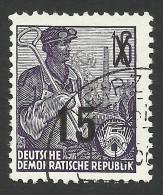 DDR, 15 pf. on 16 pf. 1954, Sc # 219, Mi # 438, used