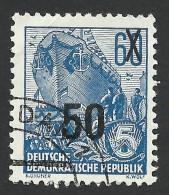 DDR, 50 pf. on 60 pf. 1954, Sc # 222, Mi # 441, used