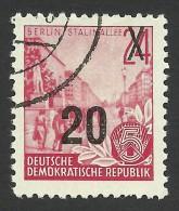 DDR, 20 pf. on 24 pf. 1955, Sc # 223A, Mi # 439, used