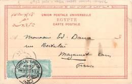 Egypte N°37 En Paire, Ambulant (AMBI) Challal-Louxor 1903 à Destination De France Sur Carte Postale Assouan - Egypt