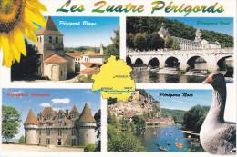 LES QUATRE PERIGORDS, Blanc, Vert, Pourpre, Noir, Oie, Carte, Riberac, Brantôme, Bergerac, Sarlat, Ed. France Regard - Aquitaine