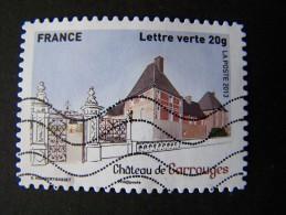 OBLITERE ANNEE 2013 N°871 CHATEAU CARROUGES TIMBRE DU CARNET PATRIMOINES DE FRANCE AUTOCOLLANT ADHESIF - France