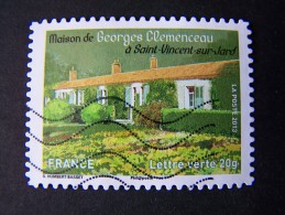 OBLITERE ANNEE 2013 N°868 MAISON DE GEORGES CLEMENCEAU TIMBRE DU CARNET PATRIMOINES DE FRANCE AUTOCOLLANT ADHESIF - France