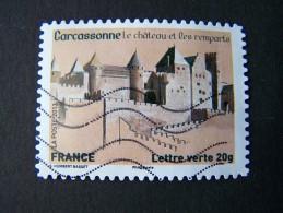 OBLITERE ANNEE 2013 N°870 CHATEAU REMPARTS CARCASSONNE TIMBRE DU CARNET PATRIMOINES DE FRANCE AUTOCOLLANT ADHESIF - France