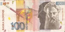 BILLETE DE ESLOVENIA DE 100 TOLARJEV DEL AÑO 1992 SERIE SR  (BANKNOTE) - Eslovenia
