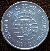 (J) SAINT THOMAS & PRINCE: Silver 10 Escudos 1939 AU (2814)  SALE!!!! - Sao Tome Et Principe