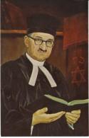 Morris Katz Artist Signed, Alexander Astor Chief Rabbi New Zealand, C1970s Vintage Postcard - Jewish