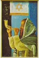 Morris Katz Artist Signed, Man Rabbi Blows Pipe Horn, C1960s Vintage Postcard - Jewish