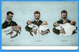 FR019, Papa Et Ses Bébés, Réjoui, Résigné, Désespéré, Humour, Circulée 1909 - Neonati