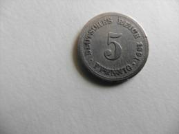 Allemagne : 5  Pfennig 1891 Deutsches Reich - [ 4] 1933-1945 : Third Reich