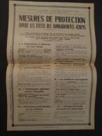 AFFICHE ANCIENNE MESURES DE PROTECTION CONTRE LES EFFETS DES BOMBARDEMENTS AERIENS 1939