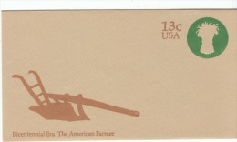 #U573 American Farmer Bicentennial Era Stamped Envelope Stationery Mint Cover - United States