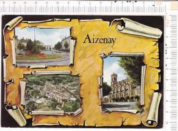 AIZENAY  -    3   Vues Sur  Fond Façon  Parchemin - Aizenay