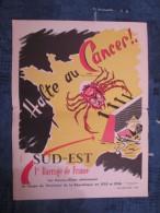 AFFICHE ANCIENNE HALTE AU CANCER 1955-56