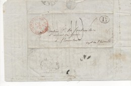 Cachet PARIS DE LA MAISON DU ROI 11 Juin 1836 Sur L.A.C. Adressée à FLORENSAC (Hérault) Esquisse De Plan : Plage,canal - Postmark Collection (Covers)