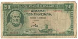 50 Drachmas 1939 (Grece, Drachmai, Drachmes, Griechenland, Griekenland, Grecia) - Greece