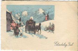 Unknown Postcard, Glaedelig Jul (Stagecoach)  1943 - Noël