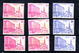 Gares « Jonction Nord-Midi », 3 X  CF354 A* - 6 X  354 B*, Cote 558 €, - 1952-....