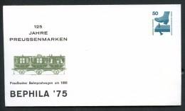 BERLIN PU58 C1/001 Privat-Umschlag BAHNPOSTWAGEN ** 1975  NGK 5,00 € - Trains