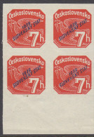 SLOVAKIA, 1939 ORANGE 7h O/P  BLOCK 4 - Ungebraucht