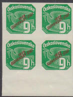 SLOVAKIA, 1939 GREEN 9h O/P  BLOCK 4 - Ungebraucht