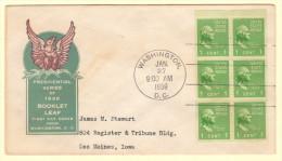 USA SC #804b FDC  1939 Prexy / 1c Washington Bklt Pane/6 (01-27-1939) - 1851-1940