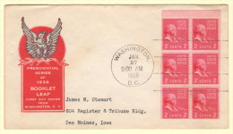 USA SC #806b FDC  1939 Prexy / 2c J. Adams Bklt Pane/6 (01-27-1939) - 1851-1940