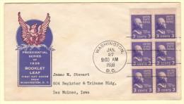 US SC #807a FDC  1939 Prexy / 3c Jefferson Bklt Pane/6 (01-27-1939) - 1851-1940