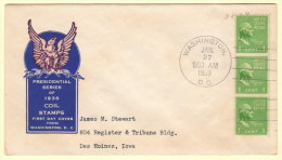 US SC #848 FDC  1939 Prexy / 1c Washington Coil STR/3 P10 H (01-27-1939), CV $5.00 - First Day Covers (FDCs)