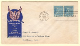 USA SC #845 FDC  1939 Prexy / 5c Monroe Coil PR P10 V (01-20-1939), CV $5.00 - First Day Covers (FDCs)