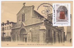 Promophil 2015 à Tournus (71) 7 Et 8 Mars 2015, Timbre@moi Porche Eglise De La Madeleine Sur CP De L'église - Cartoline Maximum