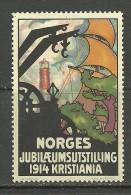 NORWEGEN Norway 1914 Vignette Poster Stamp Hundertjahr-Ausstellung In Kristiania Light House Leuchtturm MNH - Cinderellas