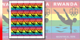 Rwanda 0766**  12F  Jeux Olympiques de Montr�al - Feuille / Sheet de 20 MNH - NATATION