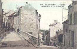 Cpa - Carrière Sur Seine - Grande Rue Et Rue De Bezons ( En L´état ) - Carrières-sur-Seine