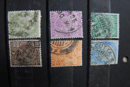B013 - INDIA INDIEN 6 Verschiedene Gestempelte Marken Um 1900 König Schöne Stempel - Indien
