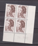 FRANCE / 1982 / Y&T N° 2183 ** : Liberté 40c X 4 - Coin Daté 1982 07 26 (=) - 1980-1989