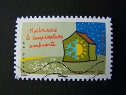 OBLITERE ANNEE 2014 N°970 MAITRISONS LA TEMPERATURE AMBIANTE DU CARNET ENVIRONNEMENT AUTOCOLLANT ADHESIF - France
