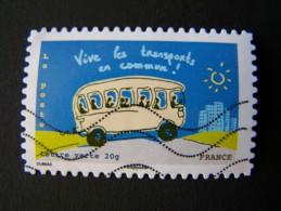 OBLITERE ANNEE 2014 N°973 VIVE LES TRANSPORTS EN COMMUN DU CARNET ENVIRONNEMENT AUTOCOLLANT ADHESIF - France
