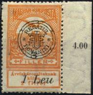 ROMANIA HUNGARY 1919 ORADEA  Flood Relief 3/1 Leu With MARGIN-GENUINE MNH+OG - Transylvanie