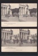 Nantes - Lot De 2 - Vue Stereoscopique - La Bourse, Statue Colonel Villebois Mareuil, Guerre Boers - Nantes
