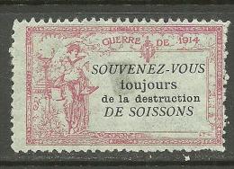 FRANCE Vignette 1914 Charity Stamp Guerre De 1914 * - Erinnofilia
