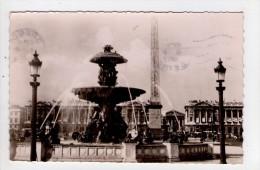 CP 9*14/AB1378/PARIS PLACE DE LA CONCORDE FONTAINE OBELISQUE 1952 - Arrondissement: 08