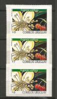 URUGUAY. Fleurs Du  Cerisier De Cayenne.  3 T-p Neufs ** Autocollants, Différentes Faciales. - Uruguay