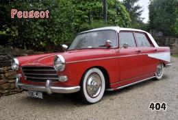 Postcard, Peugeot Cars Collection, 404 - Voitures De Tourisme