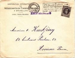 Env Affr Y&T 196 Obl SPA (BELGIUM) / WATERS-BATHS / RHEUMASTISM / HEART ANAEMIA Du 22.III 1921 - 1922-1927 Houyoux