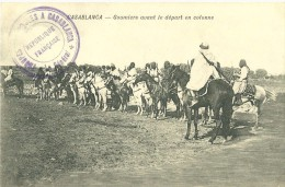 CASABLANCA MAROC GOUMIERS AVANT LE DEPART EN COLONNE  CACHET  MILITAIRE TROUPES ... LE GENERAL CHEVAUX - Casablanca