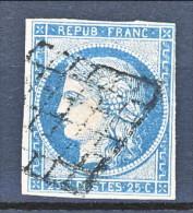 Francia 1850 Ceres N. 4 C. 25 Azzurro  Usato Annullo A Griglia Muto - 1849-1850 Ceres