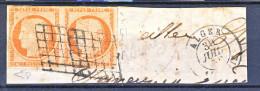 Francia 1850 Ceres N. 5 C. 40 Arancio  Rara Coppia Su Frammento Da Algeri, Annullo A Griglia, Firme Diena E Raybaudi - 1849-1850 Ceres