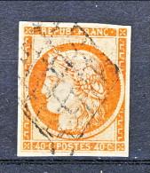 Francia 1850 Ceres N. 5A C. 40 Arancio  Vivo Con Importanti Margini, Freschissimo, Annullo A Griglia Muta, Firmato Biond - 1849-1850 Ceres