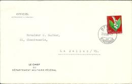 Timbre Suisse PJ No.190 Sur Lettre - Chef Du Dpt Militaire Fédéral Via La Sallaz ( Vaud ) - Pro Juventute